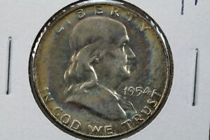 1954 D FRANKLIN HALF MS LIGHT COLORFUL TONING