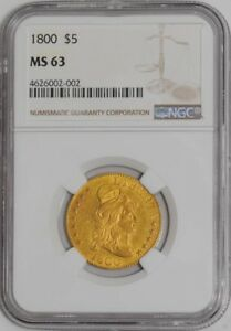 1800 $5 GOLD CAPPED BUST 4626002 002 MS63 NGC
