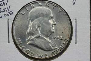 1952 D FRANKLIN HALF MS FULL BELL LINES