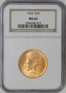 1932 $10 GOLD INDIAN 1844286 012 MS63 NGC