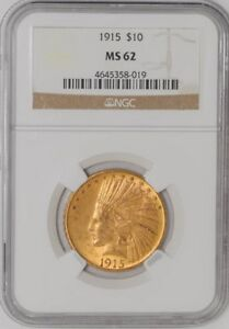 1915 $10 GOLD INDIAN 4645358 019 MS62 NGC