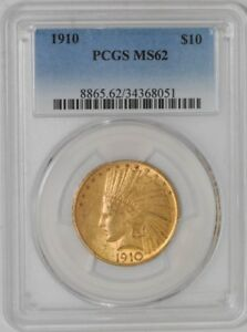 1910 $10 GOLD INDIAN 34368051 MS62 PCGS