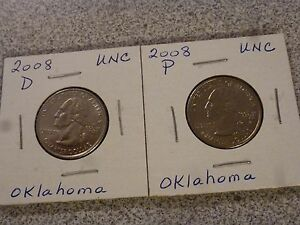 2008 P & D  BOTH UNCIRCULATED  OKLAHOMA STATE QUARTERS US QUARTER DOLLARS