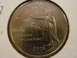 2008 D  UNCIRCULATED AU  HAWAII STATE QUARTER US QUARTER DOLLARS