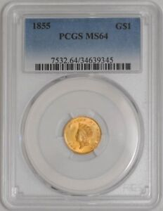 Click now to see the BUY IT NOW Price! 1855 $ GOLD INDIAN DOLLAR 34639345 MS64 PCGS