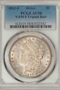 Click now to see the BUY IT NOW Price! 1892 S PCGS AU58 VAM 8 TRIPLED HAIR MORGAN SILVER DOLLAR HUGE RARITY ITEMT9070