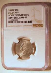 DOUBLE CURVED CLIP MINT ERROR NGC MS66 2000 P MARYLAND STATE QUARTER