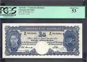 Click now to see the BUY IT NOW Price! AUSTRALIA P 27C  AUNC  5 POUNDS 1949 KGVI PCGS GRADED 53
