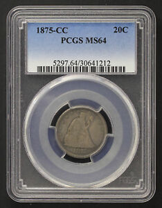 Click now to see the BUY IT NOW Price! 1875 CC TWENTY CENT PIECE PCGS MS 64  128699