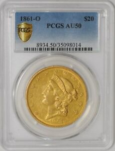 Click now to see the BUY IT NOW Price! 1861 O $20 GOLD LIBERTY AU50 SECURE PLUS PCGS