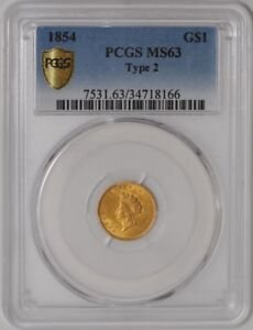 Click now to see the BUY IT NOW Price! 1854 TYPE 2 GOLD INDIAN DOLLAR 34718166 MS63 SECURE PLUS PCGS