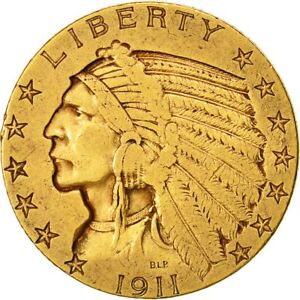 [473020] COIN UNITED STATES INDIAN HEAD $5 HALF EAGLE 1911 U.S. MINT SAN