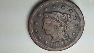 1850 BRAIDED HAIR LARGE CENT US COIN
