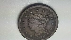 1846 BRAIDED HAIR LARGE CENT US COIN