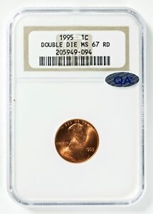 1995 LINCOLN CENT DOUBLE DIE NGC MS67RD  RED  QA