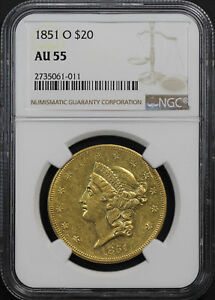 Click now to see the BUY IT NOW Price! 1851 O DOUBLE EAGLE $20 GOLD LIBERTY TYPE 1 NGC AU 55  170475