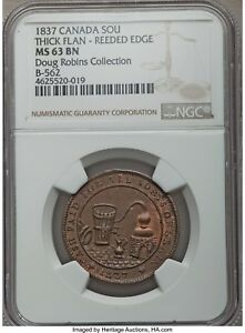 Click now to see the BUY IT NOW Price! CANADA TOKEN MOLSON BRETON 562 LC 16A1   THICK FLAN REEDED   PCGS MS63 BN