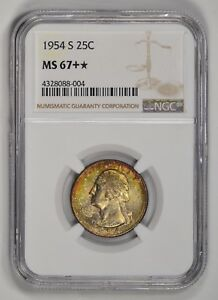 Click now to see the BUY IT NOW Price! 1954 S WASHINGTON QUARTER  NGC MS 67   PLUS STAR  GREAT REGISTRY 25 COIN