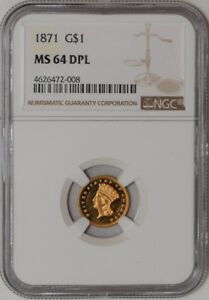 Click now to see the BUY IT NOW Price! 1871 $ GOLD INDIAN DOLLAR 936121 1 MS64 DPL NGC