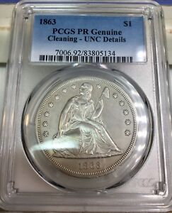 1863 LIBERTY SEATED $1 PCGS PR PROOF DOLLAR LOW 460 MINTAGE