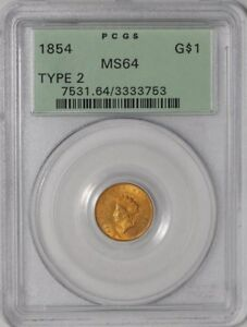 Click now to see the BUY IT NOW Price! 1854 $ GOLD INDIAN DOLLAR TYPE 2 938113 1 MS64 GREEN LABEL PCGS