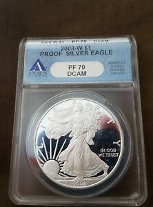 U.S. AMERICAN SILVER EAGLE   2008  W PF70 DEEP CAMEO GRADED BY ANACS