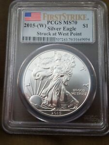 U.S. AMERICAN SILVER EAGLE   2015 W GRADED MS70