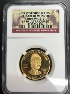 Click now to see the BUY IT NOW Price! FIRST SPOUSE SERIES ELIZABETH MONROE 2008 W G$10 PF 70 ULTRA CAMEO C 1509