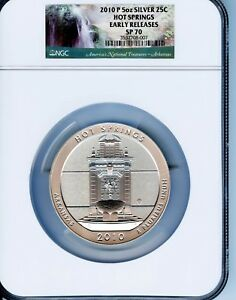 Click now to see the BUY IT NOW Price! 2010 P HOT SPRINGS AMERICA THE BEAUTIFUL NGC SP70 5 0Z .999 SILVER COIN.  GR