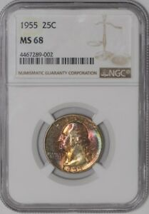 Click now to see the BUY IT NOW Price! 1955 WASHINGTON QUARTER 25C 938737 1 MS68 COLOR NGC