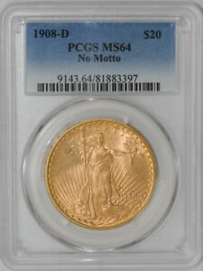 1908 D $20 SAINT GAUDENS NO MOTTO 939170 6 MS64 PCGS