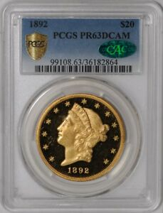 Click now to see the BUY IT NOW Price! 1892 $20 GOLD LIBERTY 939022 13 PR63 DCAM SECURE PLUS PCGS   CAC