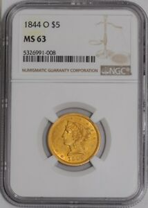 Click now to see the BUY IT NOW Price! 1844 O $5 GOLD LIBERTY 935987 14 MS63 NGC