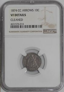 Click now to see the BUY IT NOW Price! 1874 CC SEATED LIBERTY DIME 10C ARROWS 937789 16 VF DETAILS NGC