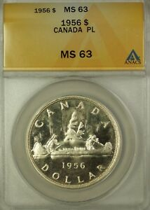 Click now to see the BUY IT NOW Price! 1956 CANADA SILVER $1 COIN QUEEN ELIZABETH SECOND PL ANACS MS 63  BETTER COIN