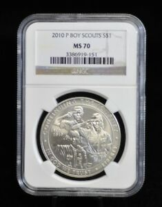 2010 P NGC MS70 BOY SCOUTS COMMEMORATIVE SILVER DOLLAR [09DUD]