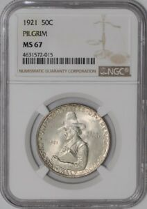 Click now to see the BUY IT NOW Price! 1921 PILGRIM 50C 938945 5 MS67 NGC