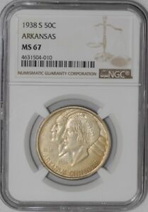 Click now to see the BUY IT NOW Price! 1938 S ARKANSAS 50C 938855 18 MS67 NGC