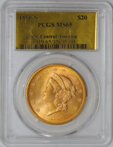 Click now to see the BUY IT NOW Price! 1856 S $20 GOLD LIBERTY SS CENTRAL AMERICA 938365 1 MS65 PCGS