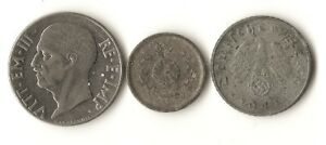 LOT OF THREE WWII AXIS POWERS COINS JAPAN 1 SEN GERMANY 5 PFENNIG ITALY 20 C
