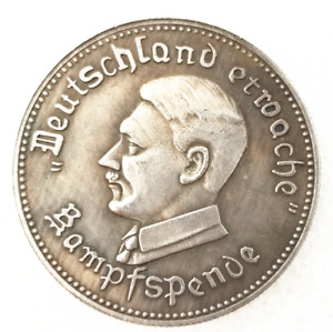 WORLD WAR II GERMANY LEADER CHARACTER SILVER CURRENCY COMMEMORATIVE COIN J379