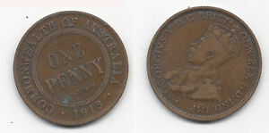 1913 COMMONWEALTH OF AUSTRALIA KING GEORGE V PENNY COIN  G2861