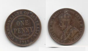 1919 COMMONWEALTH OF AUSTRALIA KING GEORGE V PENNY COIN  G3218