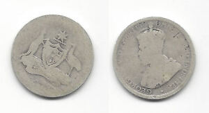 WORN DATE KING GEORGE V AUSTRALIA SILVER SHILLING COIN  K1008
