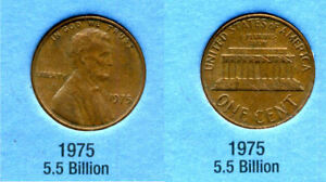 1975 P ABE LINCOLN MEMORIAL AMERICAN PENNY 1 CENT US U.S AMERICA ONE COIN B1