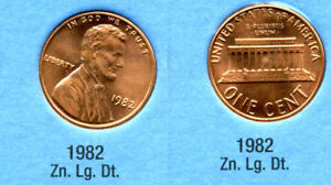 1982 P LINCOLN MEMORIAL LARGE DATE ZINC PENNY 1 CENT US AMERICA ONE COIN B1