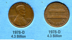 1978 D ABE LINCOLN MEMORIAL AMERICAN PENNY 1 CENT US U.S AMERICA ONE COIN B1