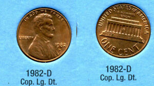 1982 D LINCOLN MEMORIAL LARGE DATE COPPER PENNY 1 CENT US AMERICA ONE COIN B1