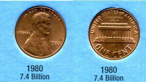 1980 P ABE LINCOLN MEMORIAL AMERICAN PENNY 1 CENT US U.S AMERICA ONE COIN B1