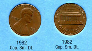 1982 P LINCOLN MEMORIAL SMALL DATE COPPER PENNY 1 CENT US AMERICA ONE COIN B1